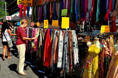 NYC: Woman Shopping for Silk Scarf Royalty Free Stock Image