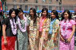 NYC:  Women at Burmese Water Festival Royalty Free Stock Photos