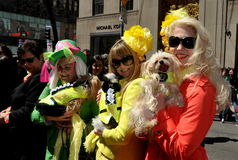 NYC: Women with Dogs at Easter Parade stock images