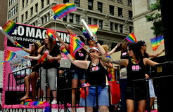 NYC: Women on GO Magazine Float at Gay Pride Parade Royalty Free Stock Image