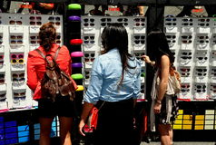 NYC: Women Shopping for Sunglasses Royalty Free Stock Photo