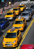 NYC: Yellow Taxis on East 42nd Street Stock Photography