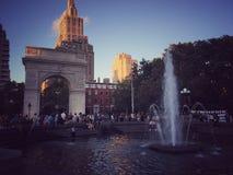 NYC-zonsondergang bij het park Royalty-vrije Stock Afbeelding