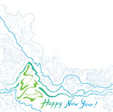 NYcard-front. New Year Post card, to be fold horizontally Stock Images