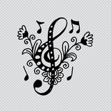 Nyckel- dekorativ stil för musik stock illustrationer