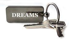 Nyckel- kedja med text Arkivbild