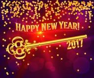 Nyckel- kort för lyckligt nytt år 2017 Royaltyfri Foto
