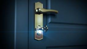 Nyckel- låsande upp lås och dörr som öppnar till ett ljust ljus HD 1080 Inklusive alfabetiskmaskering royaltyfri illustrationer
