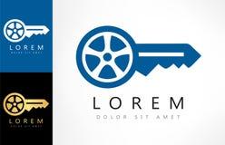 Nyckel- logo för bil royaltyfri illustrationer