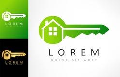 Nyckel- logovektor för hus vektor illustrationer