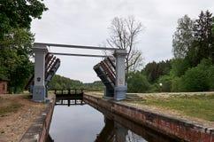 _ Nyckel på den Augustow kanalen i Vitryssland Maj 24, 2017 royaltyfri bild