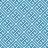 Nyckel- sömlös modellbakgrund för grek i blått och vit Tappning och retro abstrakt dekorativ design Enkel lägenhet stock illustrationer