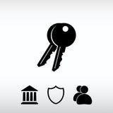 Nyckel- symbol, vektorillustration Sänka designstil Arkivfoto
