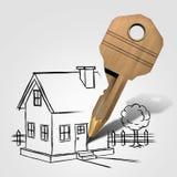 Nyckel- teckning för hus Royaltyfri Fotografi