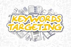 Nyckelord som uppsätta som mål - gul text för tecknad film äganderätt för home tangent för affärsidé som guld- ner skyen till Arkivbilder
