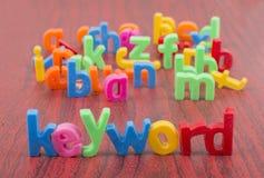 Nyckelordtext med defocus av bokstäver i bakgrund Royaltyfri Foto