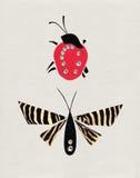 Nyckelpiga & fjäril Arkivfoto