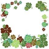 Nyckelpiga- och växt av släktet Trifoliumsidaram Plan stilvektorillustration Royaltyfri Fotografi