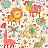 Nyckfull djurillustration royaltyfri illustrationer