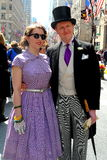 NYCL  Elegantly Dressed Couple at Easter Parade Royalty Free Stock Photos