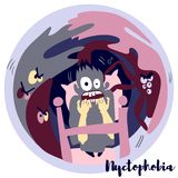 Nyctophobia. Vector illustration with violet colors. Picture is about the most common phobia.  is a phobia characterized by a severe fear of the dark stock illustration