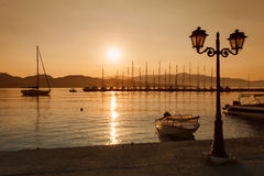 Nydri bay at Lefkada island, Greece on sunrise Royalty Free Stock Image
