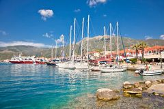 Nydri harbour at Lefkada island, Greece. Royalty Free Stock Photos