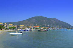 Nydri Marina and Lefkada island view Stock Photo