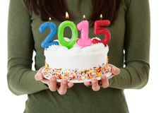 NYE: Candles On Cake Spell Out Royalty Free Stock Photo