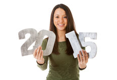 NYE: Cheerful Woman Ready For New Year 2015 Royalty Free Stock Images