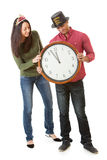 NYE: Couple Waiting For Clock To Hit Midnight Stock Photo