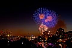 NYE Fireworks. New Year's Eve Fireworks at North Sydney NSW Australia 2012 Stock Photography