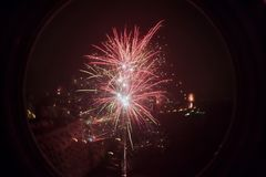 NYE FIREWORKS 2015 bucharest 2016. New year eve fireworks shoot with 35mm lomo fisheye 2 Stock Image