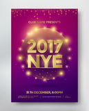 NYE flyer template. NYE, New Year Eve template flyer or invitation design. Vector Royalty Free Stock Photography