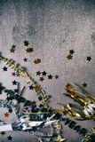 NYE: Grunge Background For New Year's Eve With Confetti and Neck. Fun, styled backgrounds for New Year's Eve designs Stock Photos