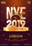 NYE (helgdagsafton för nytt år) för berömmall för 2019 parti design med t royaltyfri illustrationer