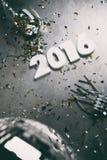 NYE: Het bekijken neer Nieuwjaarachtergrond voor 2016 met Weerspiegeld Royalty-vrije Stock Fotografie