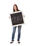 NYE: Kobieta Podtrzymywał Chalkboard Świętować 2015 Obraz Royalty Free