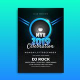 NYE (New Year Eve) 2019 Celebration template design with time, d. Ate and venue details stock illustration
