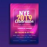 NYE (New Year Eve) 2019 Celebration template or flyer design wit. H time, date and venue details vector illustration