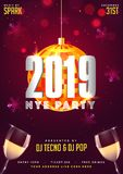 2019 NYE (New Year Eve) Party template with champagne glasses on. Snowflake decorated blurred background royalty free illustration