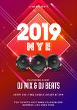 2019 NYE (New Year Eve) with woofer on abstract background with. Time and venue details vector illustration