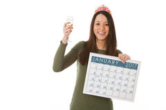 NYE: Rösten des neuen Jahres mit Champagne Stockfoto