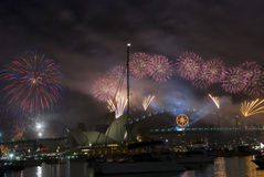 NYE Sydney Fireworks. Fireworks spectacular in Sydney Harbour, Sydney, NSW, Australia royalty free stock photos