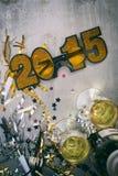 NYE : 2015 verres et Champagne For une partie Image libre de droits