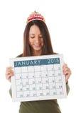 NYE: Vrouw Klaar voor Nieuwjaar en Januari 2015 Stock Foto's