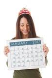 NYE: Vrouw Klaar voor Nieuwjaar en Januari 2017 Stock Afbeelding