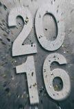 NYE: Zoom plama Na 2016 Z confetti Dla Plakatowego tła Obraz Stock