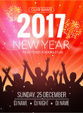 2017 nyew year party dance people background. Vector event flyer poster design.. Happy New Year fun night Royalty Free Stock Photos
