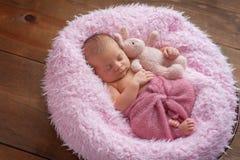 Nyfödd flicka som sover med en Bunny Stuffed Animal Arkivbild